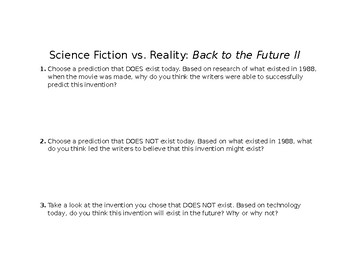 Science Fiction Activity- Back to the Future 2