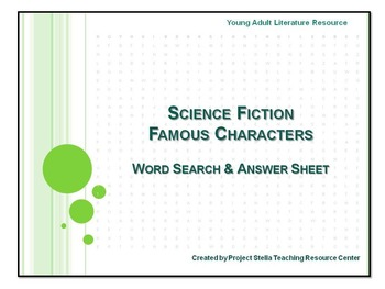 Science Fiction Famous Characters Word Search