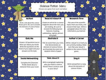 Science Fiction Genre Study Choice Board (Common Core Aligned)