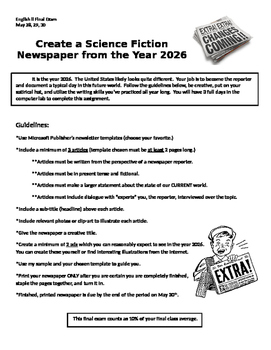 Science Fiction Newspaper Project (Writing, Point of View, Dialogue)