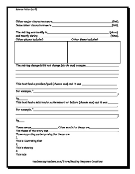 Science Fiction Book Report: Reading Response Pages (genre/novel study/project)
