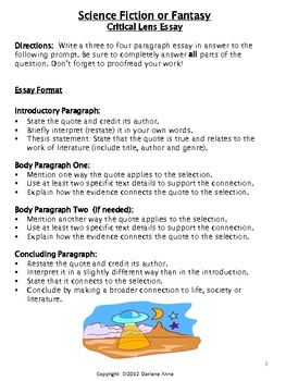 science fiction and fantasy essay prompts by darlene anne  tpt science fiction and fantasy essay prompts