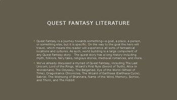Science Fiction and Fantasy Lecture #11: Quest and Sanderson Fantasy Literature