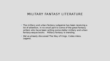 Science Fiction and Fantasy Lecture #12: Military Fantasy Literature