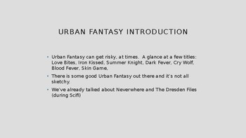 Science Fiction and Fantasy Lecture #13: Urban and Fairy Tale Fantasy Literature
