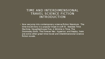 Science Fiction and Fantasy Lecture #21: Time Travel Science Fiction Literature