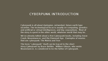 Science Fiction and Fantasy Lecture #22: Cyberpunk Science Fiction Literature