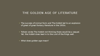 Science Fiction and Fantasy Lecture #3: The Golden Age of Fantasy Literature