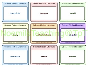 Science Fiction Bingo & Flash cards+ vocabulary & worksheets