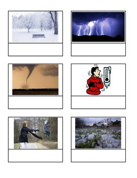Science File Folder Game- Weather Vocabulary (word to picture match)
