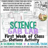 Science First Week Stations Activity : A Science Task and A Social Task