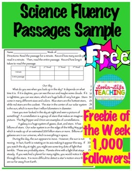 Fluency Passages 4th Grade Science Informational Sample FREEBIE of the WEEK