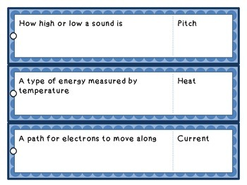 Science Fluency Vocabulary Strips: Energy and Energy Waves