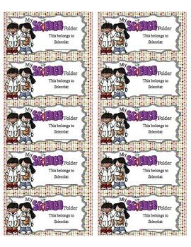 Science Folder Labels