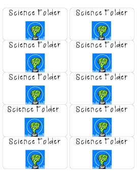 Science Folder Printable Labels Alien Themed
