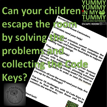 Science: Food Groups, Vitamins, Minerals, Healthy Eating, Teeth - ESCAPE ROOM