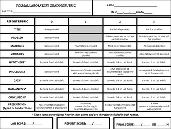 Science Formal Laboratory Rubric