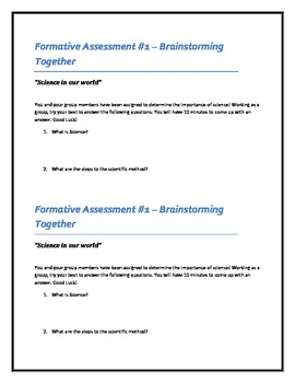 Science Formative Assessment - Science in Our World