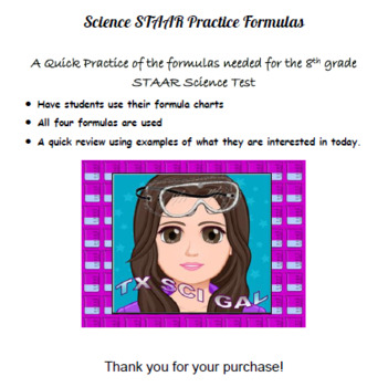 Science Formula Practice for 8th grade STAAR