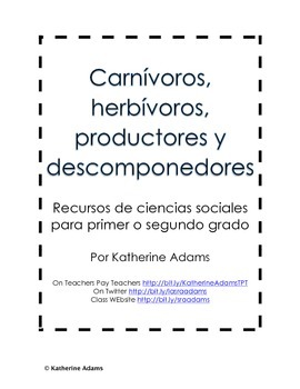 Science Freebie: Carnívoros, herbívoros, productores y descomponedores