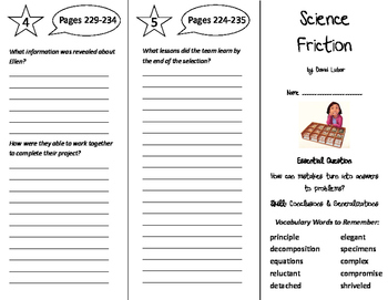 Science Friction Trifold - Journeys 6th Grade Unit 2 Week 3 (2014, 2017)