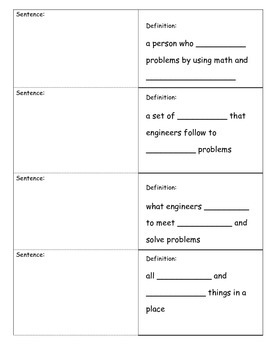 Science Fusion 2nd &3rd Unit 2 Vocabulary Foldable; Engineering Process