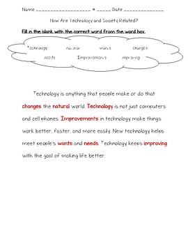 Science Fusion 3rd Gr Unit 2 Lesson 3 - How Are Technology and Society Related