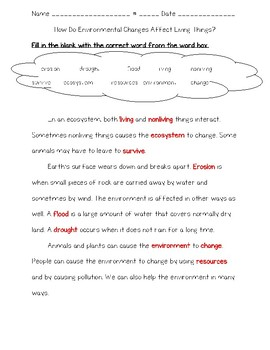 Science Fusion 3rd Grade Unit 4 Lesson 5 - How Do Environmental Changes Affect..