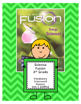 Science Fusion 3rd Grade Vocabulary Crossword Puzzle - Unit 1 SAMPLE