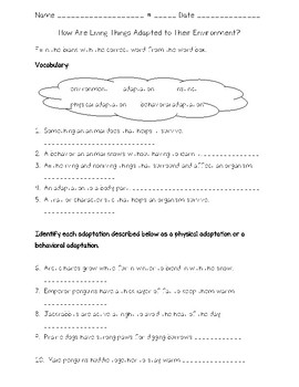 Science Fusion 4th Grade Unit 3 Lesson 5 - How Are Living Things Adapted...