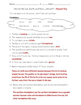 Science Fusion - 4th Grade - Unit 6 - Earth and Space - Quizzes
