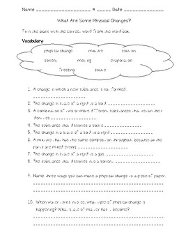 Science Fusion - 4th Grade - Unit 8 - Lesson 1 - What Are Some Physical Changes?