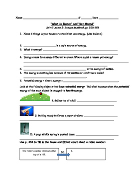 Science Fusion 4th grade Science Printables Units 6 - 10