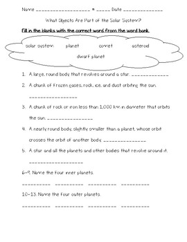Science Fusion 5th Grade Unit 12 Quizzes - The Solar System and the Universe