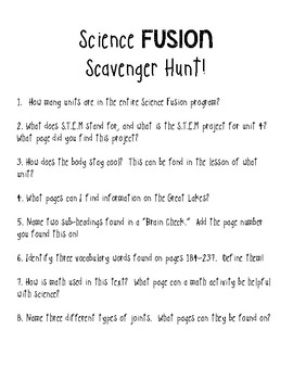 Science Fusion Book Scavenger Hunt