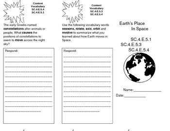 Science Fusion Florida Edition Trifolds Unit 2 Lessons 1 & 3