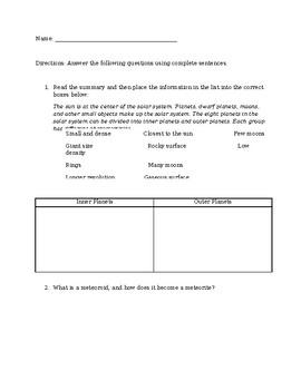 Science Fusion Gr. 5 Unit 3 Lesson 2 Quiz