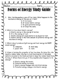 Science Fusion Grade 3 Forms of Energy Study Guide