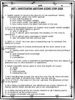Science Fusion, Grade 3, Unit 1 Study Guide