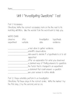 Science Fusion Grade 3 Unit 1 Study Guide and Unit Test