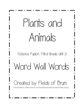 Science Fusion Grade 3 Unit 3 Word Wall Words