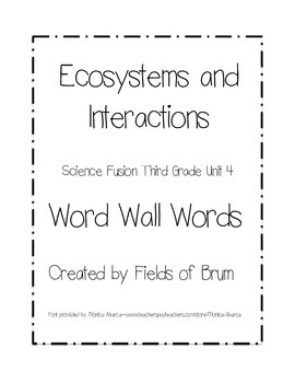 Science Fusion Grade 3 Unit 4 Word Wall Words