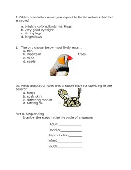 Science Fusion Grade 4 Unit 3 Plants and Animals Complete Test