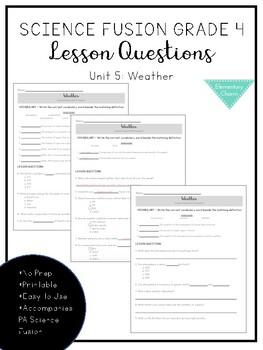Science Fusion Grade 4 - Unit 5 Lesson Questions