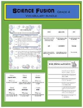 Science Fusion Grade 4 Vocabulary Bundle