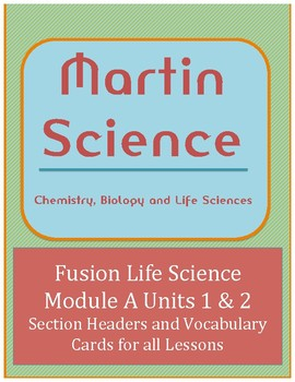 Science Fusion Life Science Module A Lesson Headers and Vocabulary  Cards