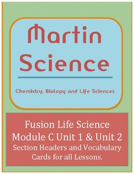 Science Fusion Life Science Module C Lesson Headers and Vocabulary Cards