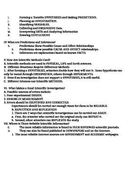 Science Fusion Unit 1 Lesson 2 Outline 6th Grade