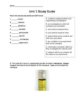 Science Fusion Unit 1 Study Guide