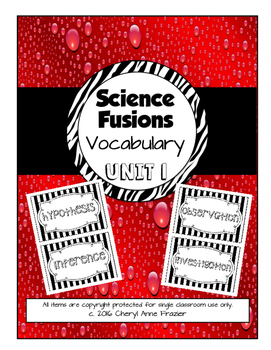 Science Fusion Unit 1 Vocabulary - 4th Grade